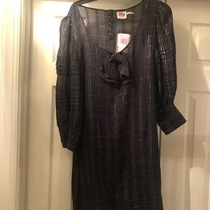 NWT Juicy Couture Black Silk Tuck Dress